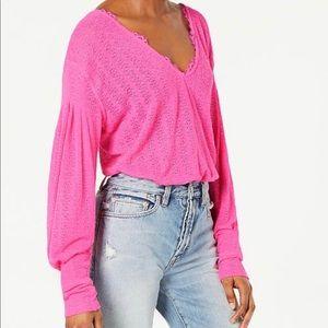 Free people Dream Girl V-Neck Bishop-Sleeve Top